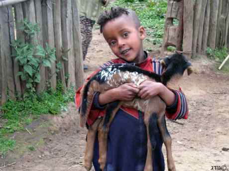 Ethiopian boy with kid