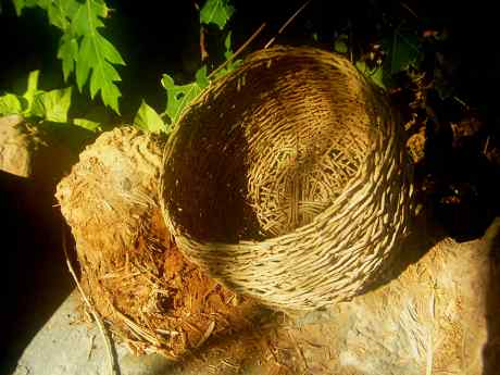 Basket from date strands