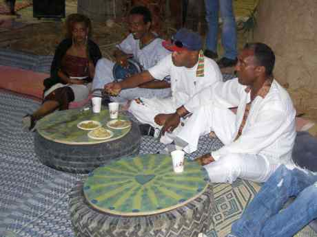 The band eats Injera