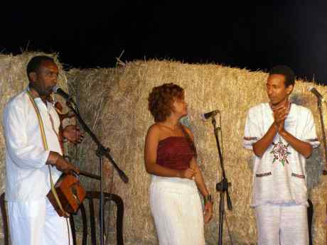 Singers on stage during the Sigd festival